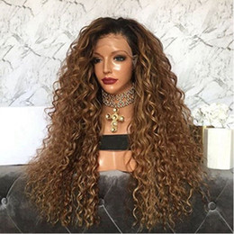 ombre kinky curly full lace wig NZ - Kinky Curly Ombre Lace Wig 1B #30 Full Lace Wigs Human Hair 8A Unprocessed Brazilian Lace Front Wigs Baby Hair For Black Women