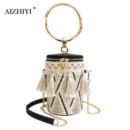 Women Folk Bucket Cylindrical Straw Woven Handbags Ethnic Barrel Tassels  Chain Zipper Shoulder Crossbody Bags b194a81f47f65