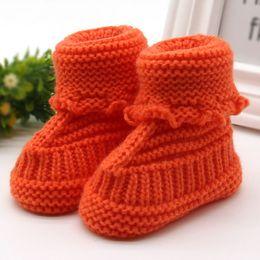 infants crocheted booties 2019 - Woolen Baby Snow Shoes Infants Crochet Knit Fleece Boots Bowknot Toddler Girl Boy Wool Crib Shoes Winter Warm Booties ch