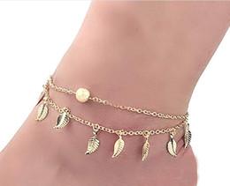 $enCountryForm.capitalKeyWord UK - Hot Foot Jewelry Beach Style Double Retro Anklet Fringe Small Leaf Bracelet Wholesale