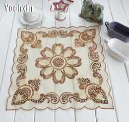 Kitchen Place Mats Australia - Luxury lace brown sequin embroidery placemat cup mug glass coaster kitchen dining table place mat tea doily Christmas drink pad