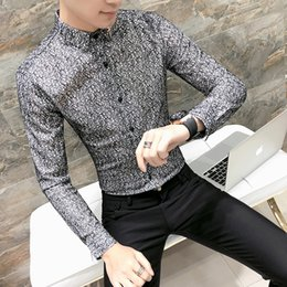$enCountryForm.capitalKeyWord Canada - New Style Men's Spring Autumn Hollowed Long Sleeve Shirt Korean Slim Personality Nightclub Mens Business Shirt Groom Dress