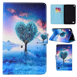 character inch tablet cover NZ - Tablets Case For Amazon Kindle Fire HD7 2015 7.0 inch Cover Fashion painting PU Leather Wallet Bags Card Dormancy function Tablet Cases