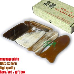 Guasha tool set online shopping - 100 ox horn high quality beauty salon massage Guasha tool set Model Ox Horn No