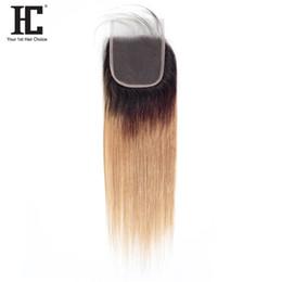 $enCountryForm.capitalKeyWord Australia - HC Straight Hair Free Part Lace Closure 4*4 Inch With Baby Hair 1B 27 Ombre Brazilian Straight Human Hair 10-20 Inch