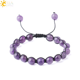 purple amethyst beads Australia - CSJA Women Amethyst Jewelry Natural Semi Precious Stone Beads Thread 8mm Wrap Gemstone Beaded Bracelets Purple Crystal Bangle Resizable F730