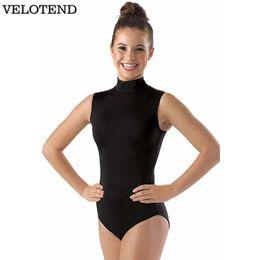 f4674b672f5b Black Turtleneck Gymnastics Leotards For Womens Spandex Lycra Sleeveless  Ballet Dance Bodysuit Adults Mock Neck Unitards