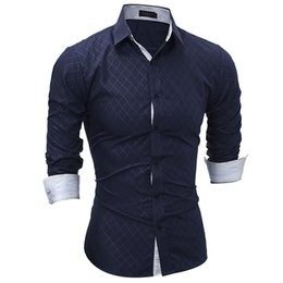 $enCountryForm.capitalKeyWord Canada - Brand 2018 Fashion Male Shirt Long-Sleeves Tops Classic Lined With Dark Lines Mens Dress Shirts Slim Men Shirt XXL