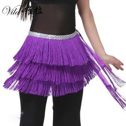 Sequin Belts Cheap NZ - Cheap 12 Colors Belly Dance Clothes 3 Layers Wrap Hip Scarf Adjustable Fit Tassel Women Belly Dance Tassel Belt