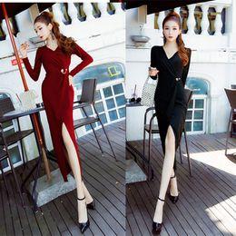 $enCountryForm.capitalKeyWord NZ - Hot New Style Long Sleeved Autumn Women Slim Hip Skirt Long Skirt for Party Formal Wear Evening Dress A0027