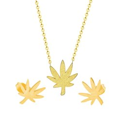 94be717673 Tiny Gold Color Maple Leaf Necklace Pendant Stainless Steel Leaves Stud  Earrings For Women Fashion Jewelry Set Friendship Gift