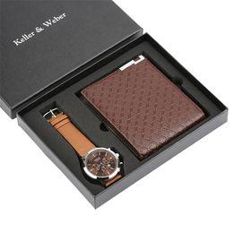 Watch For Men Quartz Wristwatch Wallet Gift Set Boyfriend Father Business Fashion Leather Bangle Strap Male Reloj Masculino