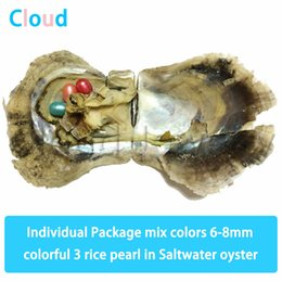 $enCountryForm.capitalKeyWord Australia - 6-8mm Mix Colors Triplets Rice Oval Pearl In Saltwater Oyster Colorful Pearl Shell Gift DIY Fashion Jewellery Vacuum Package Free shipping