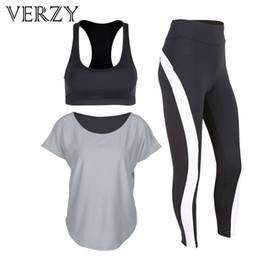 Yoga Pants Sports Bra Canada - 2017 New Grey Women Yoga Set Tights Sportswear Gym Running Pants Fitness Breathable Sports Bra T-shirt Outdoor High Elasticity