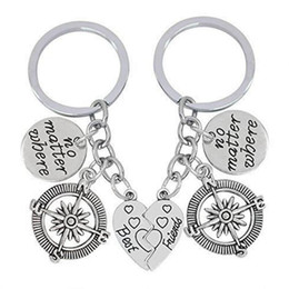 $enCountryForm.capitalKeyWord NZ - New Hot Ancient Silver Best Friend Heart&No Matter Where Tag&Compass Charm Pendant Keyring Keychain Creative Lovers Jewelry Holiday Gifts
