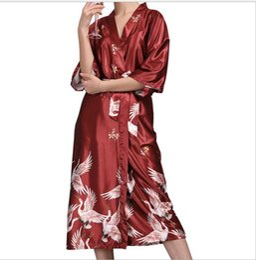79acd89f05 2018 hot sell Silk Satin Wedding Bridesmaid Robe Floral Bathrobe long Kimono  Robe Night Robe Bath Fashion Dressing Gown For Women