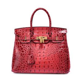 Nude color leather haNdbag online shopping - Fashion Women Crocodile Bag Genuine Leather Women Handbag Female Casual Tote Bag Large Cow Leather Ladies Shoulder Bags