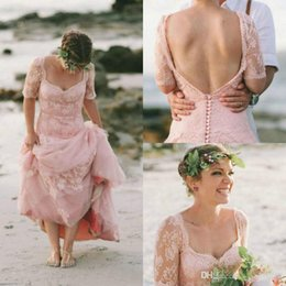 Petite Wedding Gown Pink Australia - Latest Blush Lace Beach Wedding Dresses Gothic 2018 Country Garden Bridal Gowns With Sleeve Full Length boho vintage wedding dress backless