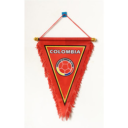 $enCountryForm.capitalKeyWord UK - Colombia National Football Three Corner Handing 2018 Russia Football World Cup 36cm*23cm Size Decoration flag banner for home & garden