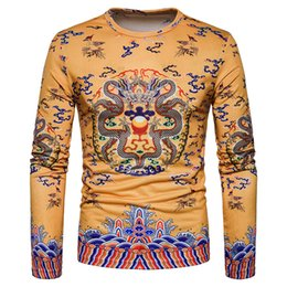 $enCountryForm.capitalKeyWord NZ - 2018 new spring summer men Europe Code new creative retro dragon pattern printed long sleeved T-shirt knitted cotton blend casual