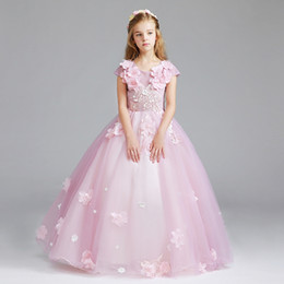 $enCountryForm.capitalKeyWord NZ - Abito Comunione pink White Flower Girl Dresses short Sleeve Ball Gown Kids Evening Gown vestido comunion Prom Dresses Girls