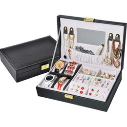 $enCountryForm.capitalKeyWord NZ - wholesale Earrings Ring Jewelry Box Makeup Organizer Multifunction Leather Casket For Decoration 4 Watch Storage Box Dropshipping