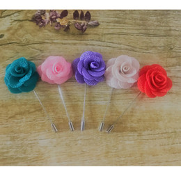 Cheap Red Flower Brooches Australia - Cheap 20Pcs Lot Best Man Groom Boutonniere Cloth Rose Flower men buttonhole Wedding Party Prom Man Suit Corsage Pin Brooch