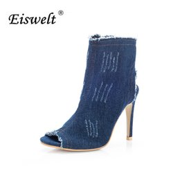 7a70f0cb19e70 EISWELT 2017 Fashion Summer Women s Ladies Fish Mouth Zip Super High Heel  Open Toes Wedge Denim Blue Sandals Shoes Women LQ152