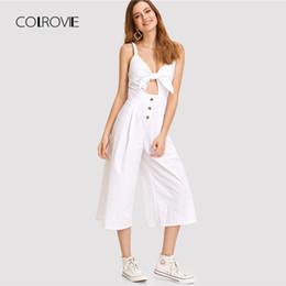 e83b5799c3d Cutout jumpsuits online shopping - COLROVIE Knot Cutout Front Wide Leg  Jumpsuit Summer Deep V Neck