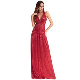 80278551c4eede Stock Cheap Sequined African Prom Dress Long V Neck Sleevless Backless A  Line Party Homecoming Gown Formal Evening Dresses Bridesmaid Beach