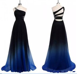 2019 Gradiant Crystal Dress Prom Dresses One shoulder Waist Chiffon Nero Royal Blue Designer Long Cheap Formale Evening Pageant Dres
