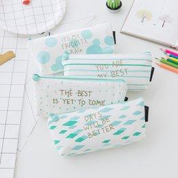 $enCountryForm.capitalKeyWord Australia - Korean Cute Lines Striped Dots Pencil Case Kids Kawaii Stationery Store Pen Bag Pouch School Holder Pencilcase Supply Purse Bts