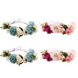 China Newborn Baby Headband Flower Crown Match Garland Hair Band Accessories for Mom anad Kids Flower Headband cheap babies hair garland suppliers