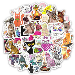 luggage for laptops 2018 - 50 PCS Funny Cat Animal Stickers Toy for Kids Decals for Kids Teens Adults DIY Home Laptop Luggage Guitar Helmet Skatebo