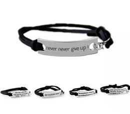 jewelry identification UK - Quote You are Amazing Never Never Give Up Bracelet Letter Id Tag Bracelets Leather Cuffs for Women Kids inspirational Jewelry 9 Styles