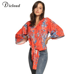 0abcf909f5c2b DICLOUD chiffon silk women blouse batwing sleeve v neck harajuku crop lace  up fashion woman blouses 2018