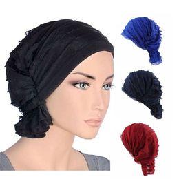 ce78a90aed826 Beanie Head Caps NZ - Fashion Women Summer Chiffon Ruffle Cancer Chemo Hat  Beanie Scarf Turban