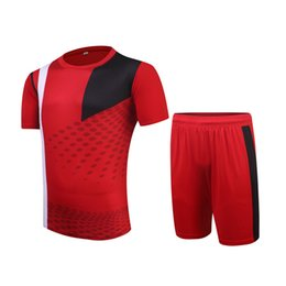2f279a77d 2015 16 season Hig Quality Red Color DIY Blank Men Soccer Sets of jersey    shorts Male Breathable Outfit Pattern Football Kit Uniforms HO001