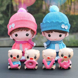 car cartoons NZ - Creative resin car decoration cartoon cute doll for car home decoration - happy doll + love pig cute