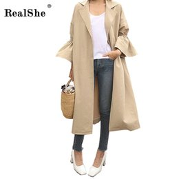 $enCountryForm.capitalKeyWord Canada - RealShe Autumn Winter Women Khaki Trench Turn-down Collar Flare Sleeve Single Breasted Outwear New Casual Coat Korean Long Cloth