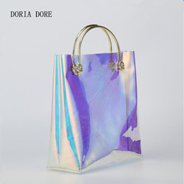 Handbag Plastic Transparent Bag Australia - DORIA DORE Laser Transparent Handbag Brand Design Summer Women Colorful Pvc Beach Plastic Bags Metal Bracelet Female Bag Bolsas