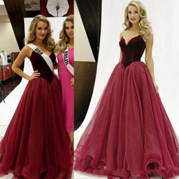 Images Gold Black Prom Dress Usa NZ - Miss USA Pageant Evening Dresses Sweetheart Burgundy Velvet Floor Long Backless Prom Special Occasion Gowns Custom Made Cheap