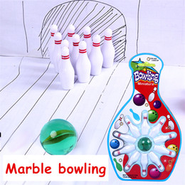 Discount mini bowling balls - Mini marble bowling Creative children's sports and leisure marble bowling set decompression gift toy epacket free