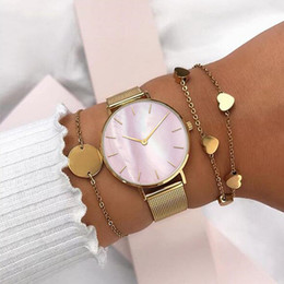Mavis Заяц Золотая сетка часы PinkWhite Ракушка наручные часы с Stianless стали круг монета браслет и любовь браслет