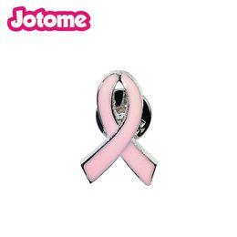 $enCountryForm.capitalKeyWord Australia - Fashion Pink Ribbon Tie Brooch Metal Pin For Women Girl Denim jacket Sweater Coat Shirt Lapel Pin Badge Jewelry