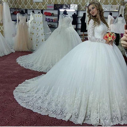 China Vintage Ball Gown 2018 Wedding Dresses Bridal Gowns Turkey Lace Bling Sequins Tulle Long Sleeves Corset Back Puffy Plus Size cheap white puffy wedding dresses lace sleeves suppliers