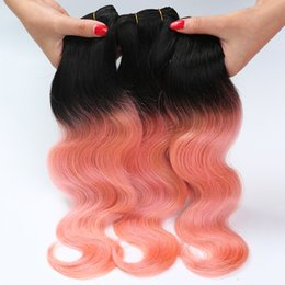 Pink ombre weft online shopping - Brazilian Body Wave Hair bundles Two Tone T B Pink Rose Golden Remy Human Hair Extension Ombre Hair Weave Bundles