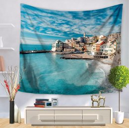 new bedding styles 2019 - New seaside city wall tapestry multifunction printing tablecloth bed shee beach towel nice 8 style home decoration party