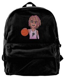 $enCountryForm.capitalKeyWord UK - Unisex Lil Pump Playing Basketball Cartoon D-ROSE Casual Canvas Fashion Backpack School Bags For Adult Blue
