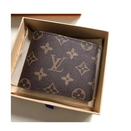 Wholesale NEW letters stars Leather Wallet Male business Fashion Bifold Short Card Holder Wallet Genuine Cowhide Leather Purse M60895
